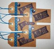 """Lotto Tag Orsetto """"Just For You"""" - Etichette Chiudipacco per Packaging e Scrapbooking (5pz)"""