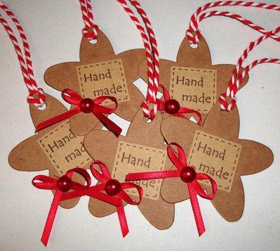 """Lotto Tag Fiore """"Hand Made"""" - Etichette Chiudipacco per Packaging e Scrapbooking (5pz)"""