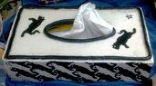 Contenitore veline di ceramica forma rettangolare decorato su tutte le facce motivi gatti bianchi e neri