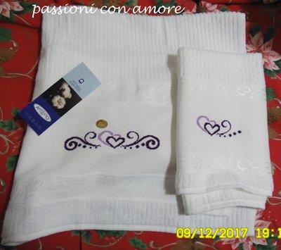 coppia di asciugamani per il bagno ricamato a punto croce