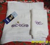 coppia di asciugamani per il bagno ricamato a punto croce idea regalo