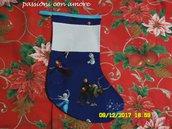 calza della befana o per natale con ricamo a punto croce personalizzato