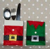 Porta posate natalizi Babbo Natale o elfo