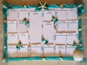 Tableau de marriage matrimonio tema mare verde tiffany