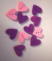 OFFERTA 15 bottoni legno cuore rosa e viola