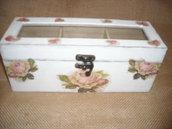 Piccola scatola-contenitore porta bustine tè o tisane,in legno