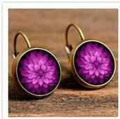 Fiore fucsia orecchini