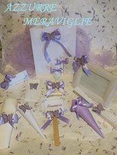 Coordinato matrimonio tema farfalla lilla rosa sacchetto coni portariso segnaposto legatovagliolo segnatavolo segnagusto lacrime di gioia bolle di sapone ventagli a partire da 1€