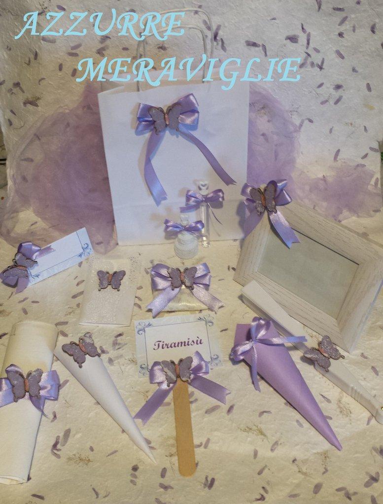 Matrimonio Tema Farfalla : Coordinato matrimonio tema farfalla lilla rosa sacchetto