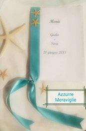 Menù matrimonio tema mare verde tiffany stella marina