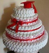 Torta decorativa di confetti per allestimento confettata laurea rosso coccinella matrimonio comunione  festa compleanno