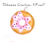 Ciambella portachiavi donut in feltro con perline, very kawaii