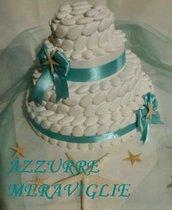 Torta decorativa di confetti per allestimento confettata verde tiffany tema mare matrimonio comunione battesimo festa compleanno