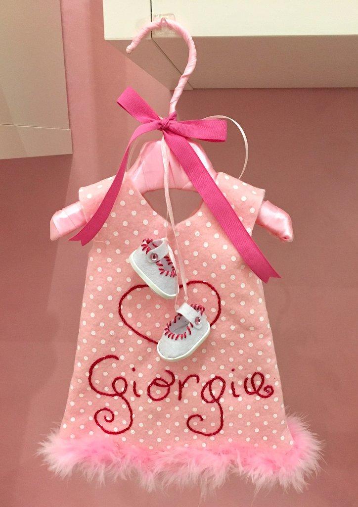 Fiocco nascita vestitino rosa