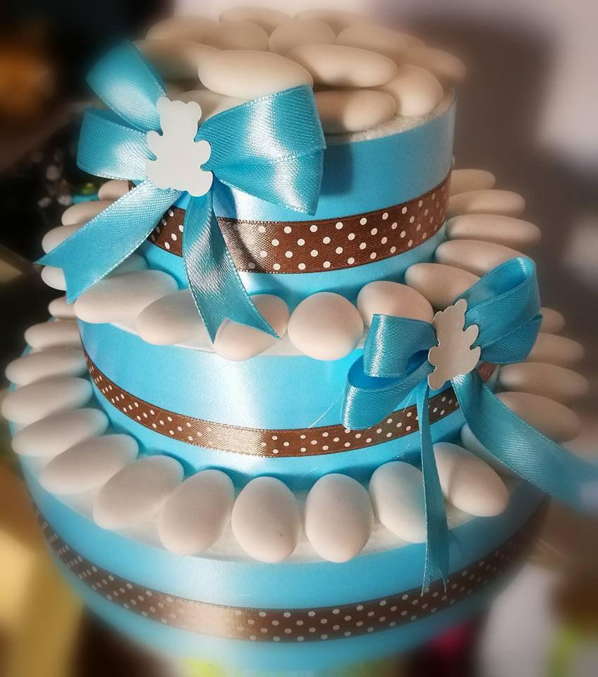 Top Torta decorativa di confetti per allestimento confettata celeste  YM03
