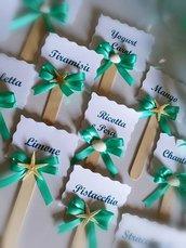 Segnagusto per confettata verde tiffany tema mare stella marina conchiglia matrimonio sposi nozze confettata faidate