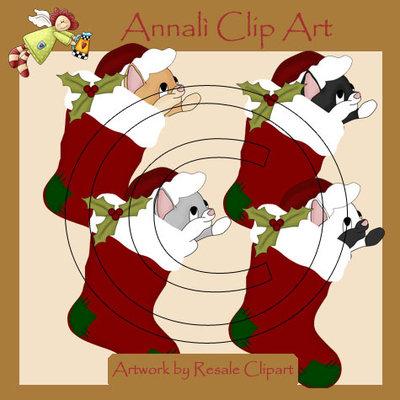 Calze Natale con Gatto - Clip Art per Scrapbooking e Decoupage - Immagini