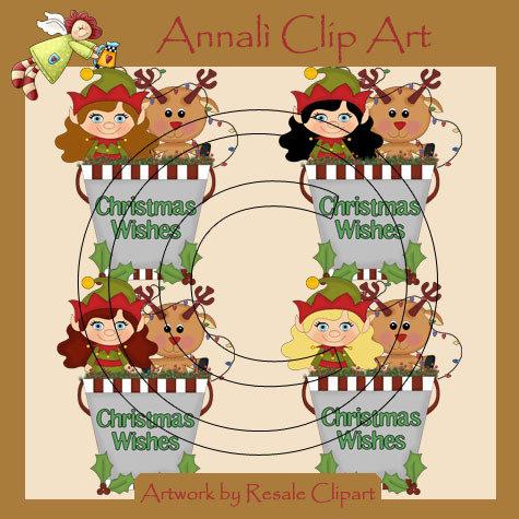 Folletto Natale con Renna - Clip Art per Scrapbooking e Decoupage - Immagini