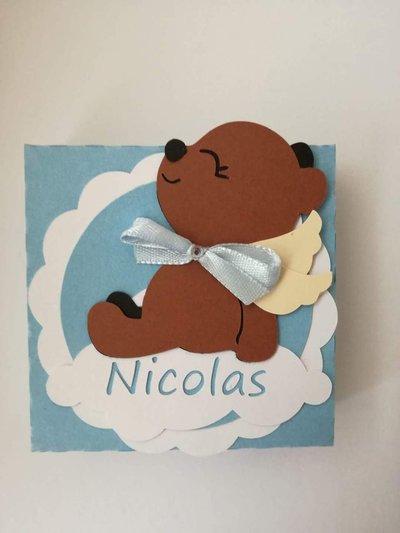 Scatolina scatoline bomboniera confetti orsetto battesimo nascita bimba nome