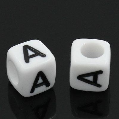 """20 dadi cubi bianchi Lettera """"A"""" Alfabeto a forma di Cubo per collane bracciali"""