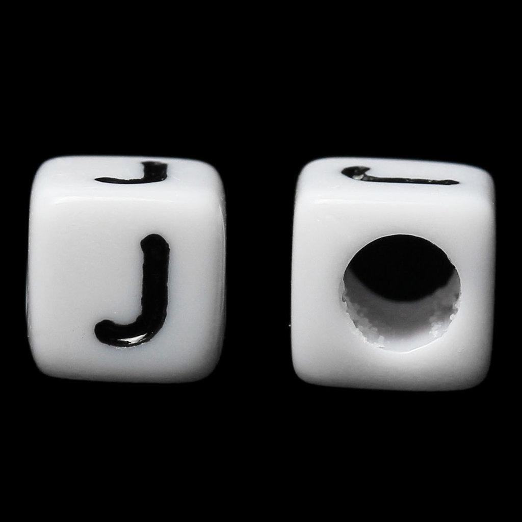 """30 dadi cubi bianchi Lettera """"J"""" Alfabeto a forma di Cubo per collane bracciali"""