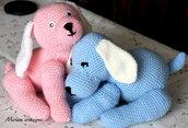 Cagnolini abbracciati rosa e azzurro Amigurumi
