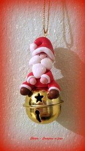 Decorazione natalizia Babbo Natale per albero di Natale in fimo handmade, regali Natale
