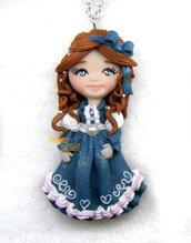 Collana damina ciondolo bambolina doll fimo necklace Natale idea regalo clay