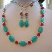 Collana e orecchini pendenti con Amazzonite, Giada rossa e cammei in Argento Tibetano