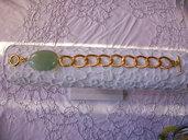 Bracciale con Avventurina verde acqua e catena di alluminio dorato, 20 cm