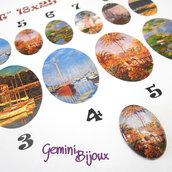 """Cabochon in vetro ovale 25x18 con immagine a scelta, serie """"Monet-Klimt"""""""