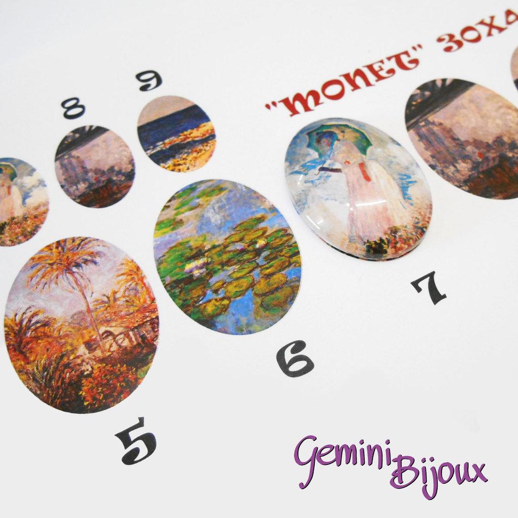 """Cabochon in vetro ovale 30x40 con immagine a scelta, serie """"Monet-Klimt"""""""
