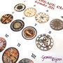 """Cabochon in vetro tondo 25 mm. con immagine a scelta, serie """"Vintage Clock"""""""