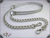 Tracolla per borsa lunga cm. 115 - doppia similpelle argento con glitter, catena e moschettoni argento