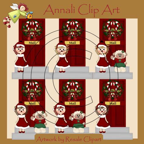 Porta Addobbata a Natale -Clip Art per Scrapbooking e Decoupage - Immagini