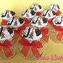 Barattolini portaspezie decorati con biscottini natalizi realizzati a mano in fimo. Idea regalo