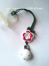 Catenella porta ciuccio bambina con fiore bianco e rosso