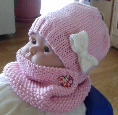SET per bambina con CAPPELLO e SCALDACOLLO in pura lana merino