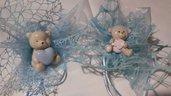 portaconfetti nascita,battesimo ,bimbo,bimba con orsetti in porcellana