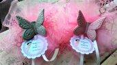 Portaconfetti  -bomboniera  nascita, battesimo, matrimonio, con farfalla in porcellana