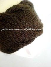 Fascia per capelli in lana marrone