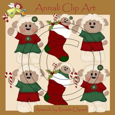 Pecora Natale - Clip Art per Scrapbooking e Decoupage - Immagini