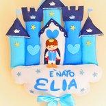 Fiocco nascita castello principe o principessa personalizzato con nome bimbo o bimba