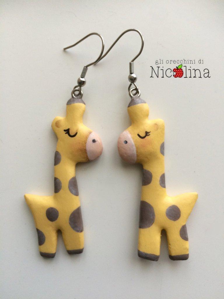 Orecchini giraffe in cartapesta