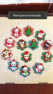 Fiocchi di neve con personaggio natalizio