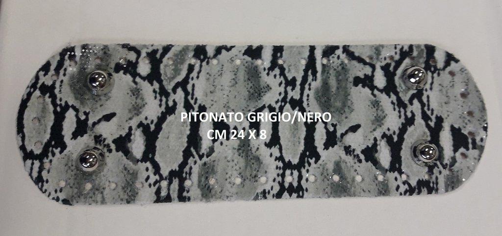 Fondo con piedini pitonato grigio/nero