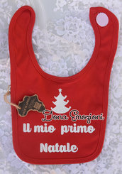"""Bavaglino rosso per bebè con scritto """"il mio primo Natale"""", in cotone organico."""