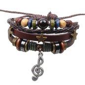Bracciale cuoio cordino nota musicale e perline