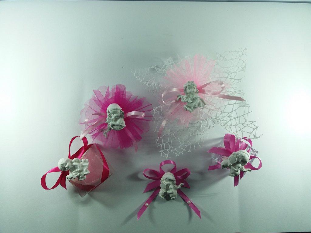 Gesso ceramico baby principesse Ariel-Alice-Jasmin-Biancaneve con tulle a rete