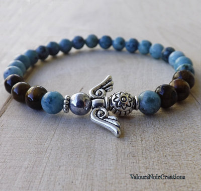 Bracciale angelo custode e pietre naturali agata azzurra